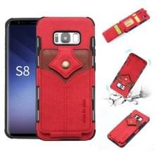 Voor Galaxy S8 doek textuur + PU + TPU schokbestendige beschermhoes met kaartsleuven (rood)