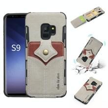 Voor Galaxy S9 doek textuur + PU + TPU schokbestendige beschermhoes met kaartsleuven (grijs)