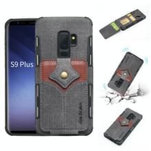 Voor Galaxy S9 PLUS doek textuur + PU + TPU schokbestendige beschermhoes met kaartsleuven (zwart)