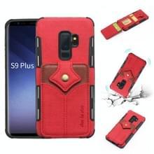 Voor Galaxy S9 PLUS doek textuur + PU + TPU schokbestendige beschermhoes met kaartsleuven (rood)