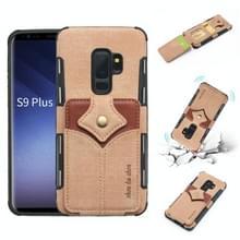 Voor Galaxy S9 PLUS doek textuur + PU + TPU schokbestendige beschermhoes met kaartsleuven (kaki)