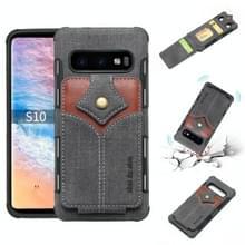 Voor Galaxy S10 doek textuur + PU + TPU schokbestendige beschermhoes met kaartsleuven (zwart)