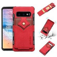 Voor Galaxy S10 doek textuur + PU + TPU schokbestendige beschermhoes met kaartsleuven (rood)