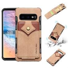 Voor Galaxy S10 doek textuur + PU + TPU schokbestendige beschermhoes met kaartsleuven (kaki)