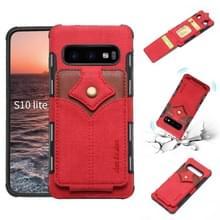 Voor Galaxy S10e doek textuur + PU + TPU schokbestendige beschermhoes met kaartsleuven (rood)