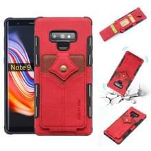 Voor Galaxy Note 9 doek textuur + PU + TPU schokbestendige beschermhoes met kaartsleuven (rood)