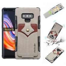 Voor Galaxy Note 9 doek textuur + PU + TPU schokbestendige beschermhoes met kaartsleuven (grijs)