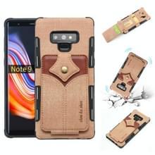 Voor Galaxy Note 9 doek textuur + PU + TPU schokbestendige beschermhoes met kaartsleuven (kaki)