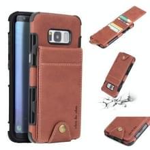 Voor Galaxy S8 doek textuur + TPU schokbestendige beschermhoes met verticale Flip kaartsleuven (bruin)