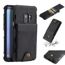 Voor Galaxy S9 doek textuur + TPU schokbestendige beschermhoes met verticale Flip kaartsleuven (zwart)