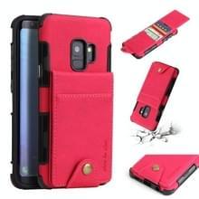 Voor Galaxy S9 doek textuur + TPU schokbestendige beschermhoes met verticale Flip kaartsleuven (Rose rood)