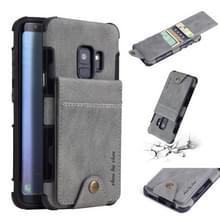 Voor Galaxy S9 doek textuur + TPU schokbestendige beschermhoes met verticale Flip kaartsleuven (grijs)