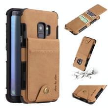 Voor Galaxy S9 doek textuur + TPU schokbestendige beschermhoes met verticale Flip kaartsleuven (kaki)