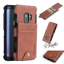 Voor Galaxy S9 doek textuur + TPU schokbestendige beschermhoes met verticale Flip kaartsleuven (bruin)