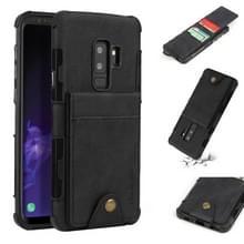 Voor Galaxy S9 PLUS doek textuur + TPU schokbestendige beschermhoes met verticale Flip kaartsleuven (zwart)