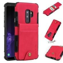Voor Galaxy S9 PLUS doek textuur + TPU schokbestendige beschermhoes met verticale Flip kaartsleuven (Rose rood)