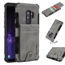 Voor Galaxy S9 PLUS doek textuur + TPU schokbestendige beschermhoes met verticale Flip kaartsleuven (grijs)