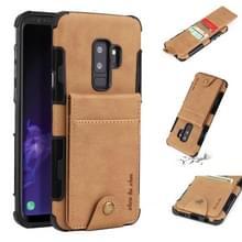 Voor Galaxy S9 PLUS doek textuur + TPU schokbestendige beschermhoes met verticale Flip kaartsleuven (kaki)