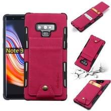 Voor Galaxy Note 9 doek textuur + TPU schokbestendige beschermhoes met verticale Flip kaartsleuven (Rose rood)