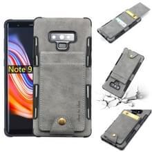 Voor Galaxy Note 9 doek textuur + TPU schokbestendige beschermhoes met verticale Flip kaartsleuven (grijs)