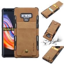 Voor Galaxy Note 9 doek textuur + TPU schokbestendige beschermhoes met verticale Flip kaartsleuven (kaki)