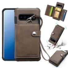 Voor Galaxy S10 plus schokbestendige PC + TPU beschermhoes  met kaartsleuven & portemonnee & foto frame & Lanyard (donker bruin)