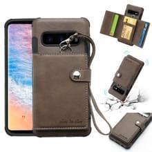 Voor Galaxy S10 shock proof PC + TPU beschermhoes  met kaartsleuven & portemonnee & foto frame & Lanyard (donker bruin)