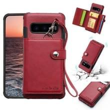 Voor Galaxy S10e schokbestendige PC + TPU beschermhoes  met kaartsleuven & portemonnee & foto frame & Lanyard (wijn)