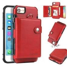 iPhone 7 & 8 Kunststof + PU leren back cover Hoesje met houder  draagriem  foto frame en opbergruimte voor veel pinpassen en geld (rood)