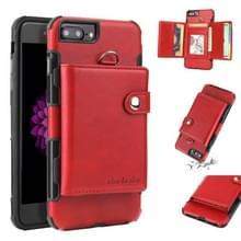 iPhone 7 Plus & 8 Plus Kunststof + PU leren back cover Hoesje met houder  draagriem  foto frame en opbergruimte voor veel pinpassen en geld (rood)