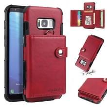 Voor Galaxy S8 schokbestendige PC + TPU beschermhoes  met kaartsleuven & portemonnee & foto frame & Lanyard (wijn)