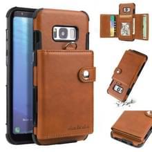 Voor Galaxy S8 plus schokbestendige PC + TPU beschermhoes  met kaartsleuven & portemonnee & foto frame & Lanyard (bruin)