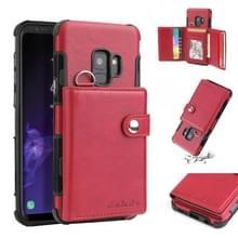 Voor Galaxy S9 schokbestendige PC + TPU beschermhoes  met kaartsleuven & portemonnee & foto frame & Lanyard (wijn)