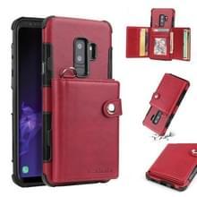 Voor Galaxy S9 plus schokbestendige PC + TPU beschermhoes  met kaartsleuven & portemonnee & foto frame & Lanyard (wijn)