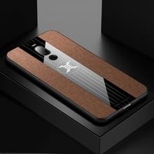 Voor Meizu Note 8 XINLI stiksels doek Textue schokbestendig TPU beschermhoes (bruin)