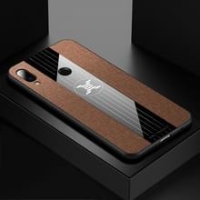 Voor Meizu Note 9 XINLI stiksels doek Textue schokbestendig TPU beschermhoes (bruin)