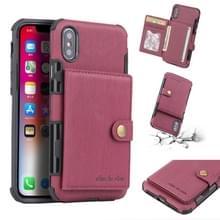 Voor iPhone XS/X geborsteld textuur schokbestendig PU + TPU case  met kaartsleuven & portemonnee & fotolijstjes (wijn rood)