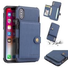 Voor iPhone XS/X geborsteld textuur schokbestendig PU + TPU case  met kaartsleuven & portemonnee & fotolijstjes (blauw)