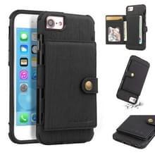 Voor iPhone 6s/6 geborsteld textuur schokbestendig PU + TPU case  met kaartsleuven & portemonnee & fotolijstjes (zwart)