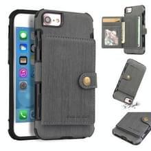 Voor iPhone 6s/6 geborsteld textuur schokbestendig PU + TPU case  met kaartsleuven & portemonnee & fotolijstjes (grijs)