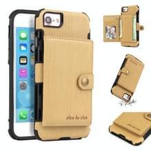 Voor iPhone 6s/6 geborsteld textuur schokbestendig PU + TPU case  met kaartsleuven & portemonnee & fotolijstjes (goud)