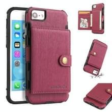 Voor iPhone 6s/6 geborsteld textuur schokbestendig PU + TPU case  met kaartsleuven & portemonnee & fotolijstjes (wijn rood)