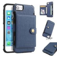 Voor iPhone 6s/6 geborsteld textuur schokbestendig PU + TPU case  met kaartsleuven & portemonnee & fotolijstjes (blauw)