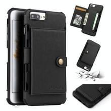 Voor iPhone 6s plus/6 plus geborsteld textuur schokbestendig PU + TPU case  met kaartsleuven & portemonnee & fotolijstjes (zwart)