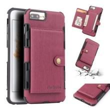 Voor iPhone 6s plus/6 plus geborsteld textuur schokbestendig PU + TPU case  met kaartsleuven & portemonnee & fotolijstjes (wijn rood)