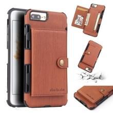 Voor iPhone 6s plus/6 plus geborsteld textuur schokbestendig PU + TPU case  met kaartsleuven & portemonnee & fotolijstjes (bruin)