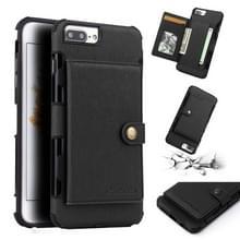 Voor iPhone 8 plus/7 plus geborsteld textuur schokbestendig PU + TPU case  met kaartsleuven & portemonnee & fotolijstjes (zwart)