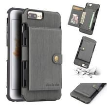 Voor iPhone 8 plus/7 plus geborsteld textuur schokbestendig PU + TPU case  met kaartsleuven & portemonnee & fotolijstjes (grijs)