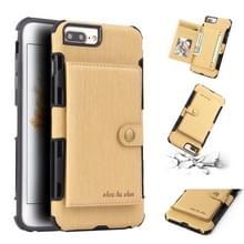 Voor iPhone 8 plus/7 plus geborsteld textuur schokbestendig PU + TPU case  met kaartsleuven & portemonnee & fotolijstjes (goud)