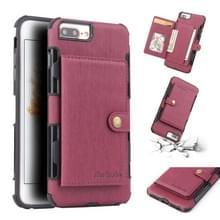 Voor iPhone 8 plus/7 plus geborsteld textuur schokbestendig PU + TPU case  met kaartsleuven & portemonnee & fotolijstjes (wijn rood)